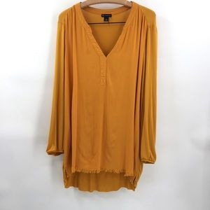 New Directions Frayed Hem Tunic Top